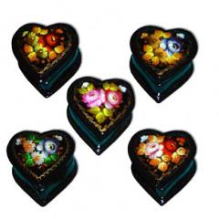 Lacquer Box Heart Jostovo flowers