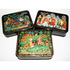 Lacquer Box Palekh Russian fairy tale in assortiment (12h10h4 or 13x9x4 cm.)