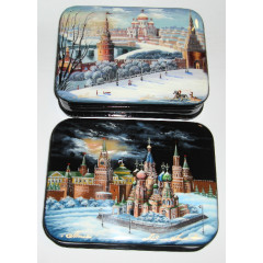 Lacquer Box Kinds of Moscow 13x10x3 cm. 1 pcs.