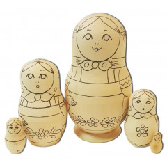 Nesting doll prepared for paint, In assortment  (prepared for paint)