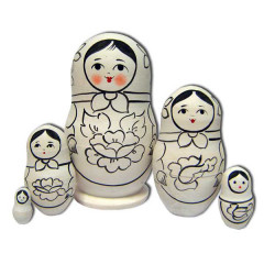 Nesting doll prepared for paint, prepared for paint, Semenovskaya, 10 cm