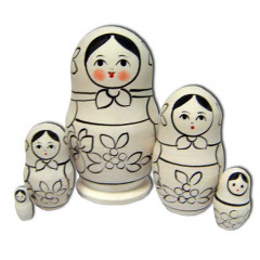 Nesting doll prepared for paint, prepared for paint, The traditional, 8