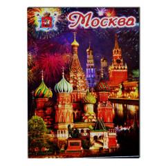 "Magnet metal 02-19K22 metal flat ""Moscow. Panorama - St.Basil`s Cathedral"