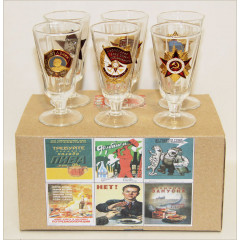 Ware Set of wine-glasses small with symbolics in assortiment. 6 pieces in box.