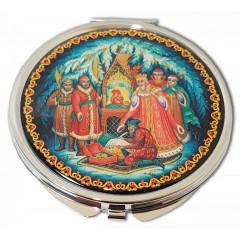 "Pocket mirror 08CHE-34-273 metal flat D7 ""Palekh. Tale of the tsar Saltan"""