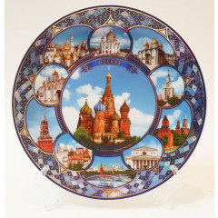 Plate 20-KN1-19 porcelain collage #1 Moscow St.Basil Cathedral D20