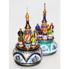 Musical cathedral - a breadboard model Gzhel, turquoise, rotary, 23, St. Basil's Cathedral