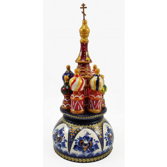 Musical cathedral - a breadboard model Gzhel mother-of-pearl, 21 cm, non-rotating, St. Basil's Cathedral