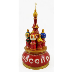 Musical cathedral - a breadboard model Russia, red, 21 cm, non-rotating, St. Basil's Cathedral