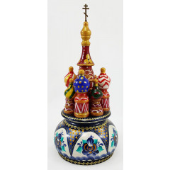 Musical cathedral - a breadboard model Gzhel turquoise, 21 cm, non-rotating, St. Basil's Cathedral