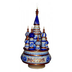 Musical cathedral - a breadboard model St. Basil Cathedral  gzhel Russia round - 21 cm