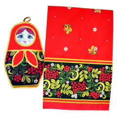 Textiles Set 2 pcs. Khokhloma Matrioshka (A20045)