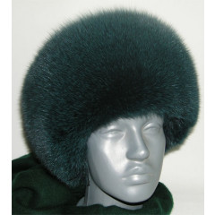 Headdress fur hat Round dark green fur - a polar fox (57)