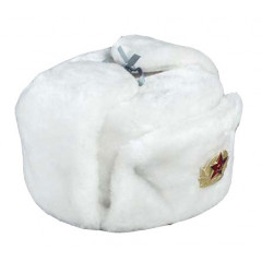 Headdress fur hat Soldier's artificial white fur