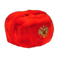 Headdress fur hat Soldier's artificial red fur 58-59-60-61-62