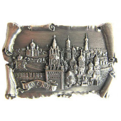 Magnet metal 027-2ATN-19K23 relief scroll Moscow Spassky tower St.Basil Cathedral silver
