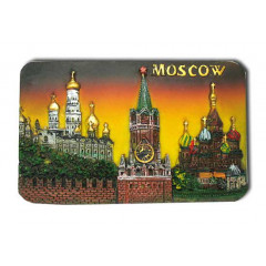 "Magnet polyresin 022-08-19K7-Y rectangular relief ""Moscow. Spassky tower - Kremlin`s temples-St. Basil's Cathedral"