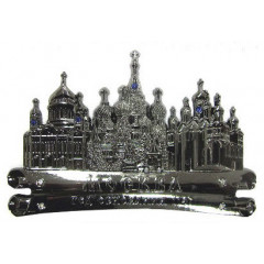 Magnet metal 027-1CHB-19K35 scroll Moscow cathedrals dark silver