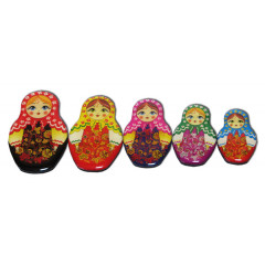 Magnet resin 02-34N2-1F-EVA Set of magnets pitch a nested doll 5 pieces N 2-1