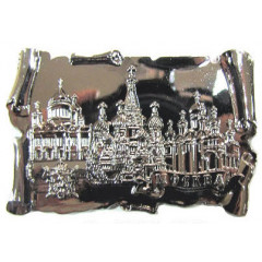Magnet metal 027-2CHB-19K35 Glossy scroll Moscow Cathedrals silver