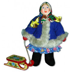 Doll handmade copyright Galina Maslennikova A2-7 A girl with sledges
