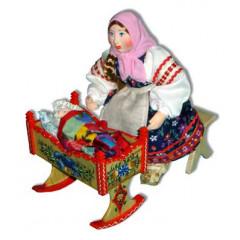 Doll handmade copyright Galina Maslennikova A2-8-2 Girl with a crable composition
