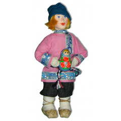 Doll handmade copyright Galina Maslennikova A2-15 A Boy with matreshka