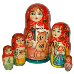 Nesting doll 5 pcs. The girl with a bear in a tower B
