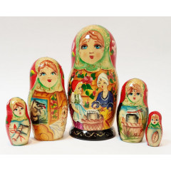 Nesting doll 5 pcs. the tale of little red riding hood and grey wolf