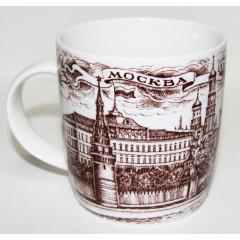"""Mug 060-1-22 mug of porcelain, """"Moscow. Quay"""", Color brown."""