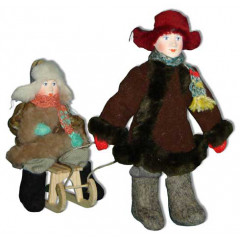 Doll handmade copyright Galina Maslennikova A2-23-4 Two boys with sledges composition 3 item