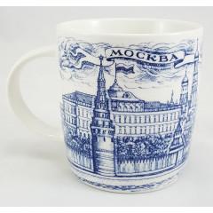 Mug 060-2-22 Porcelain, drawing dark blue, Moscow, quay