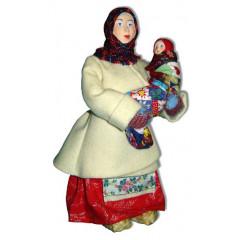 Doll handmade copyright Galina Maslennikova A2-19 Woman in korotayka with baby