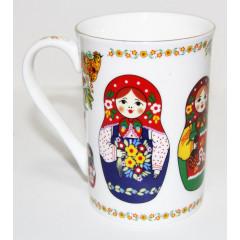 "Brelok 061-34 Mug decorative porcelain, ""the Nested doll. Classics"", colour white"
