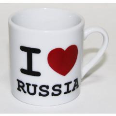 """Brelok 061-SM1-SR porcelain cannikin, """"I LOVE RUSSIA"""", h - 5 cm."""