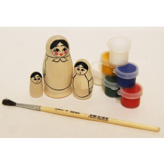 Creativity kit Masha, a set for creativity (a nested doll, paints, a brush) in gift packing