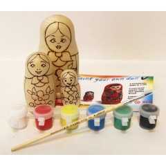 Creativity kit Set a nested doll 3 pcs with paints and a brush