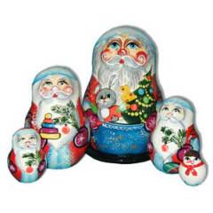 New Year and Christmas matrioshka nesting doll 5 pcs. Santa Claus with rabbit