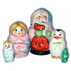 New Year and Christmas matrioshka nesting doll 5 pcs. Santa Claus With a red sack