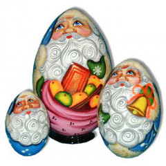 Nesting doll Sergiev-Posad 3 pcs. Egg Santa Claus With a a sack