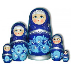 Nesting doll Sergiev-Posad 5 pcs. Gold pattern Blue