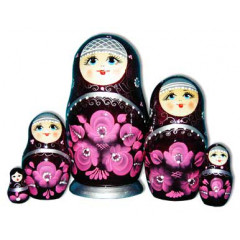 Nesting doll Sergiev-Posad 5 pcs. Gold pattern Purple