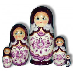 Nesting doll Sergiev-Posad 5 pcs. Gzgel Light Purple