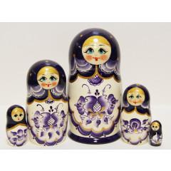 Nesting doll Sergiev-Posad 5 pcs. Gzgel Dark Purple