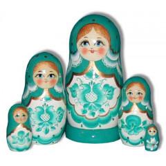 Nesting doll Sergiev-Posad 5 pcs. Gzgel Light Green
