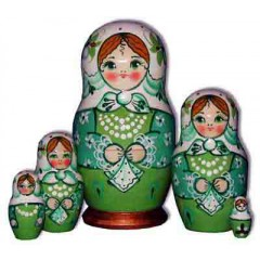 Nesting doll Sergiev-Posad 5 pcs. Shawl Light Green