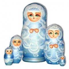 Nesting doll Sergiev-Posad 5 pcs. The bride Blue Baby Soft