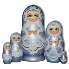 Nesting doll Sergiev-Posad 5 pcs. The bride Purple Light