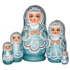 Nesting doll Sergiev-Posad 5 pcs. The bride Geen-Aqua