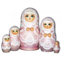 Nesting doll Sergiev-Posad 5 pcs. The bride Pink